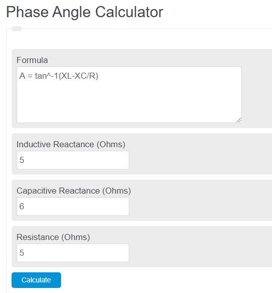 phase angle calculator