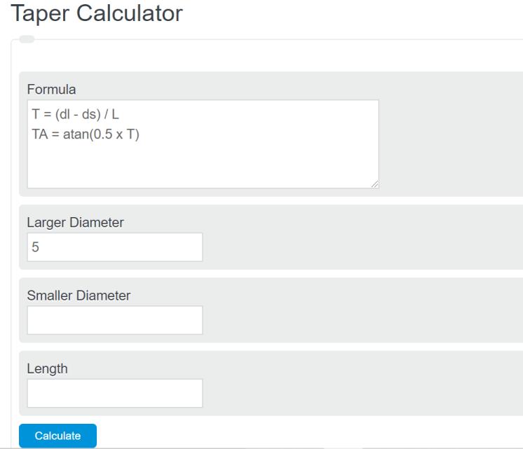 taper calculator