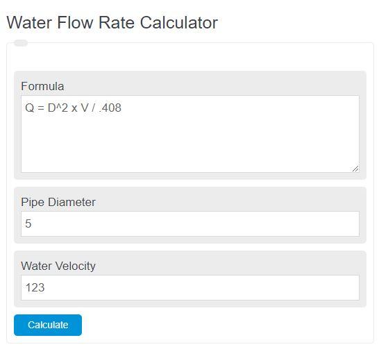 water flow rate calculator