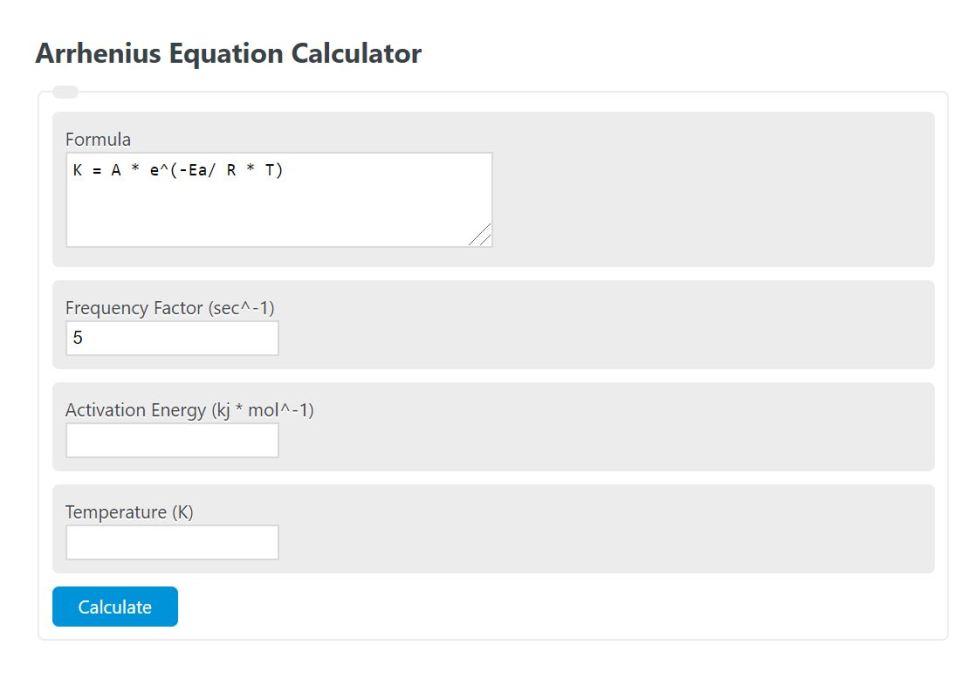 arrhenius equation calculator