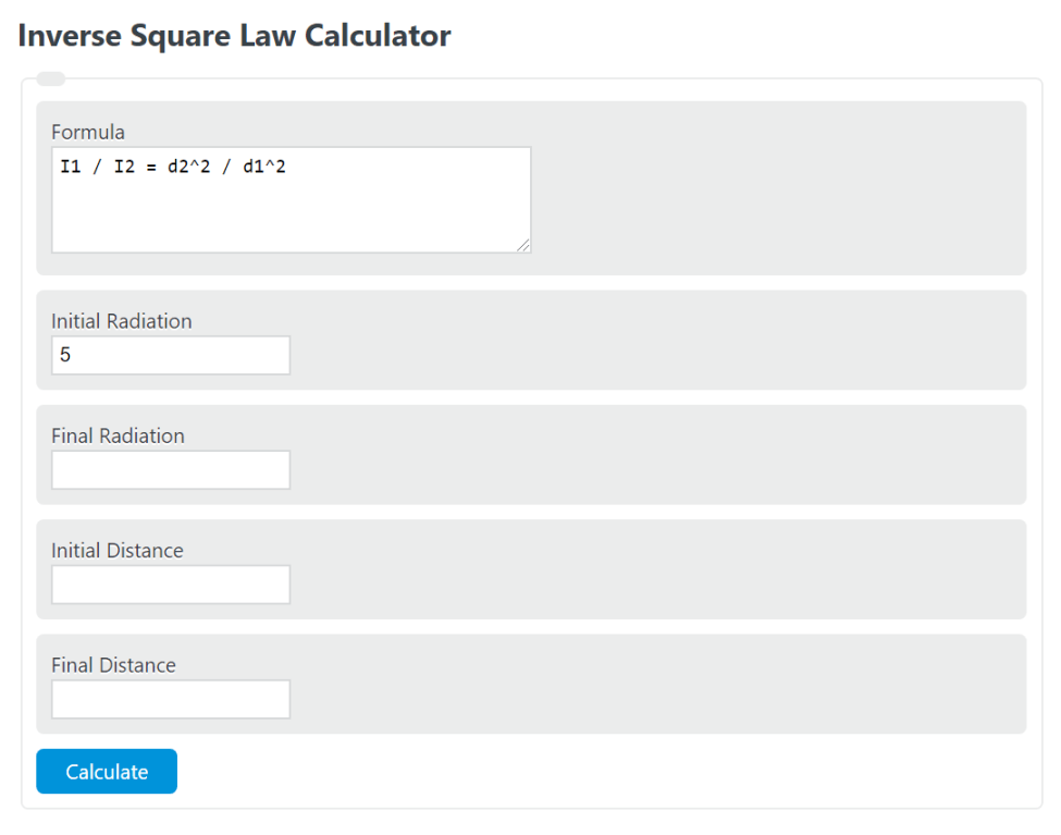 inverse square law calculator