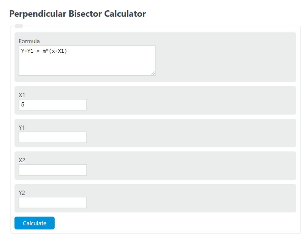 perpendicular bisector calculator