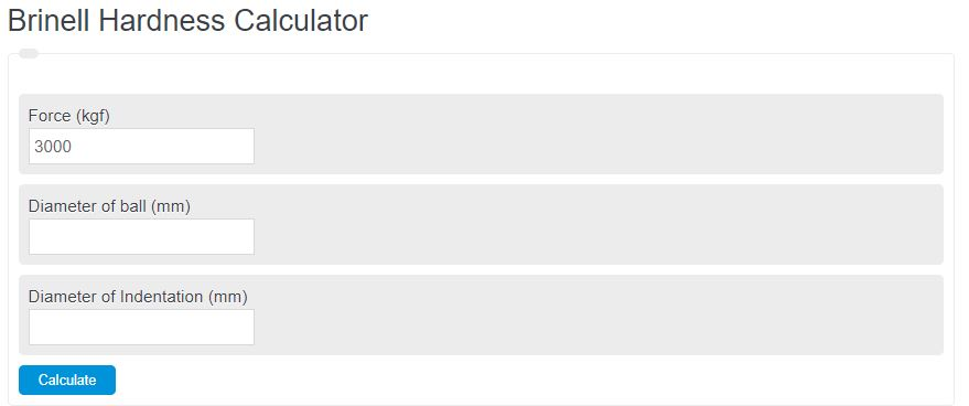 brinell hardness calculator