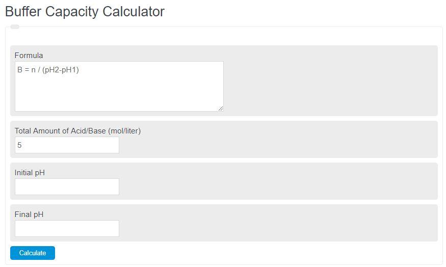 buffer capacity calculator