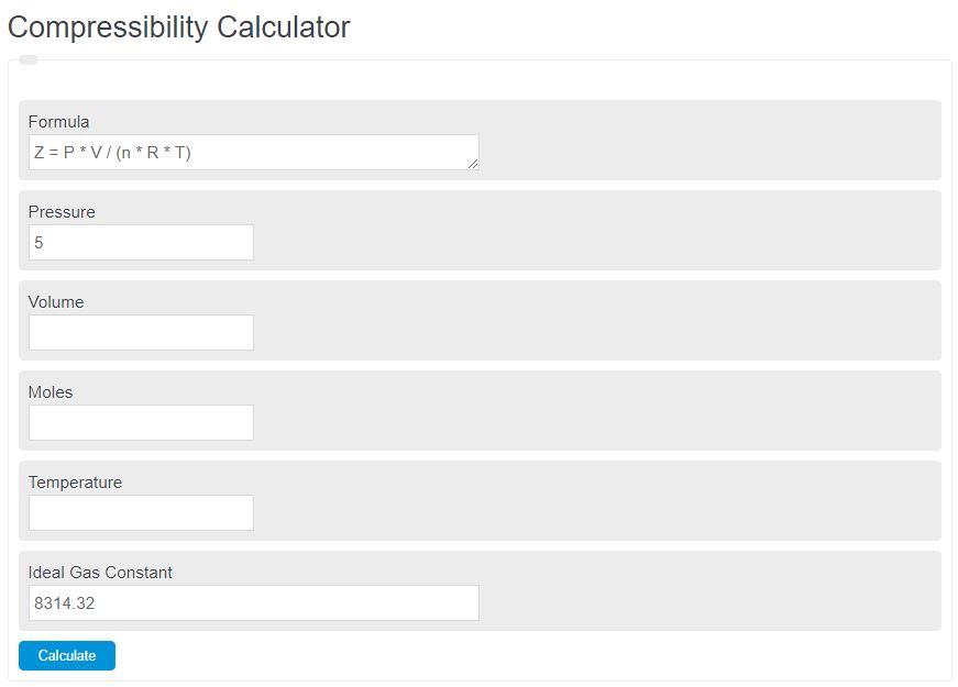 compressibility calculator