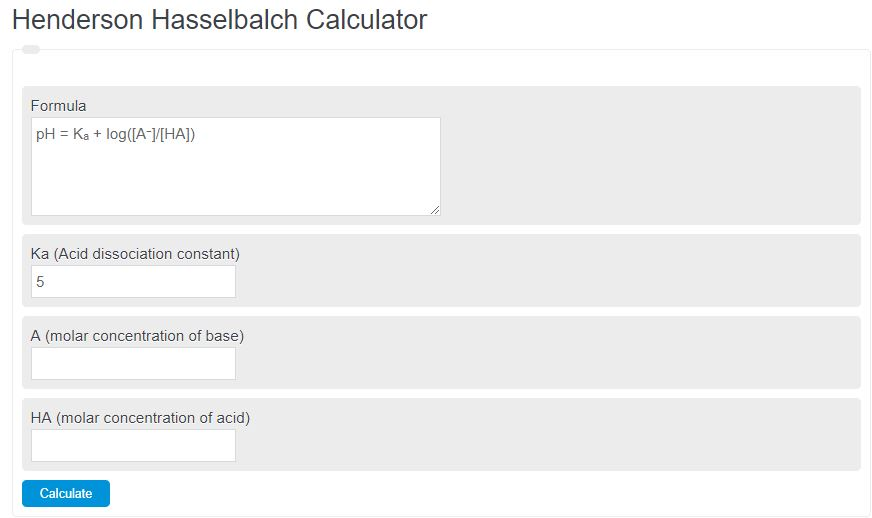 henderson hasselbalch calculator
