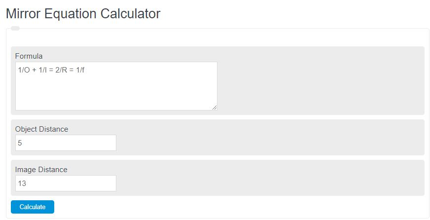mirror equation calculator