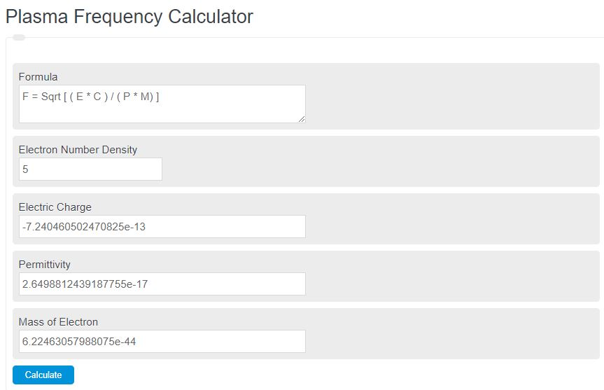 plasma frequency calculator