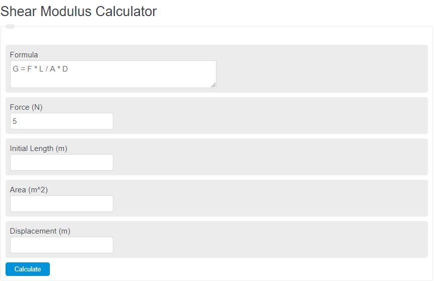 shear modulus calculator