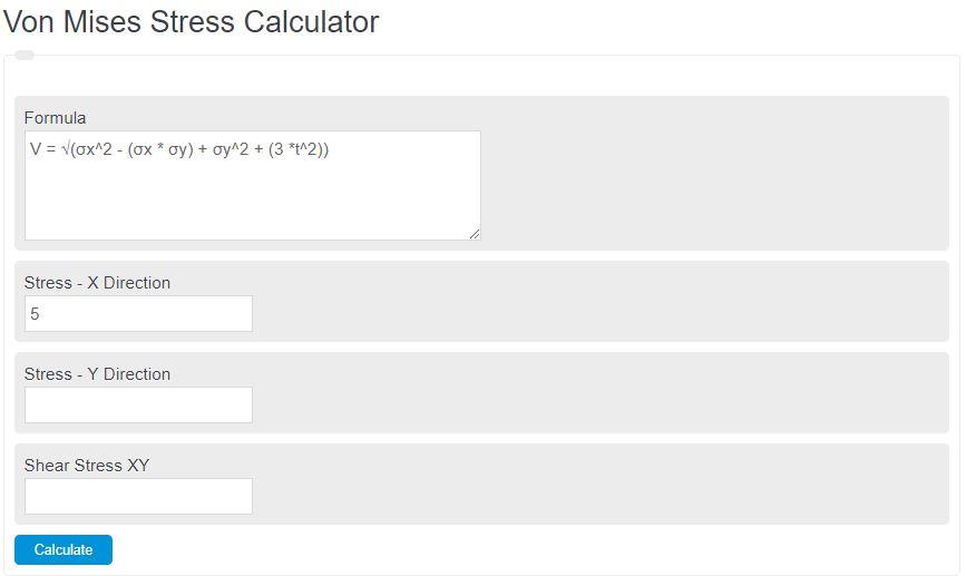 von mises stress calculator