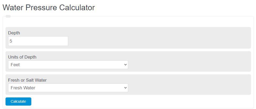 water pressure calculator