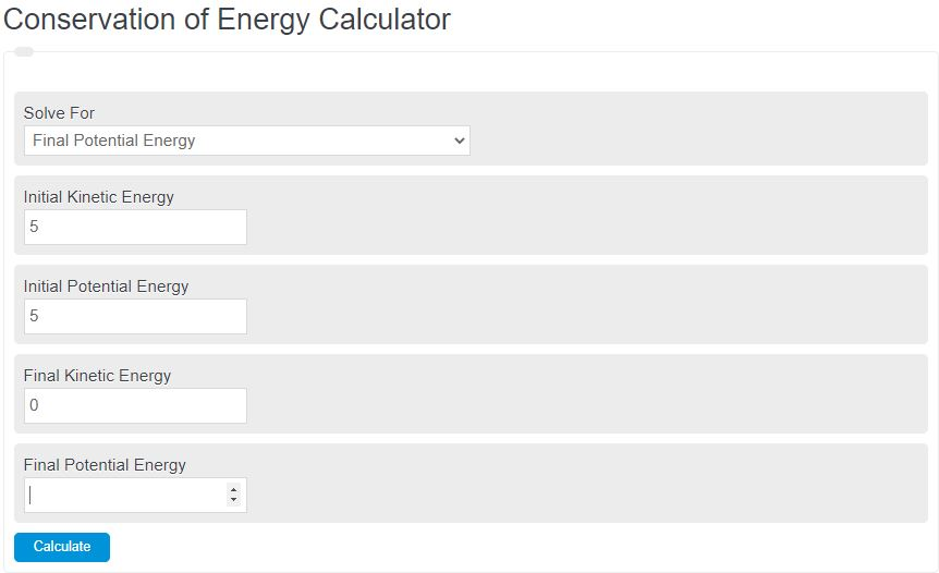 conservation of energy calculator