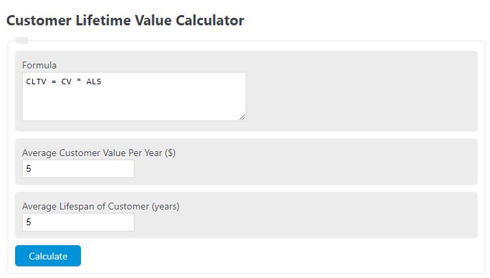 customer lifetime value calculator