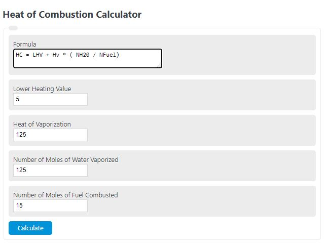 heat of combustion calculator