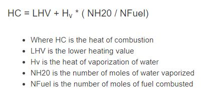 heat of combustion formula