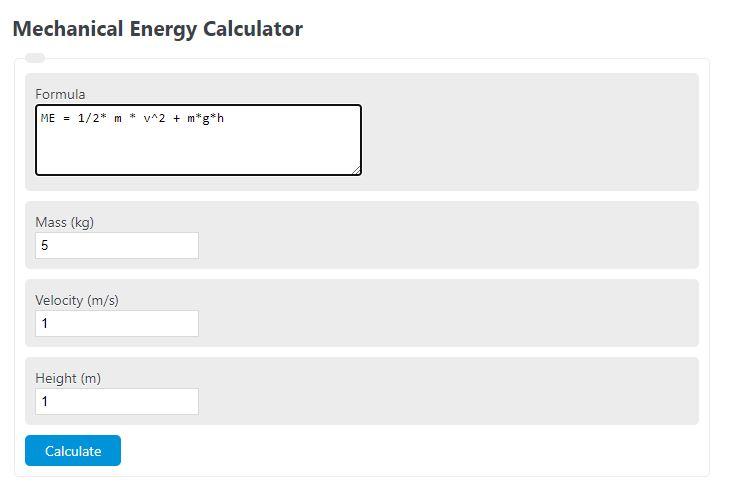 mechanical energy calculator