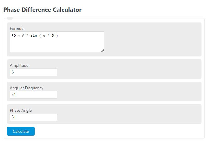 phase difference calculator