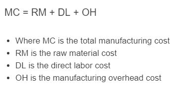 total manufacturing cost formula