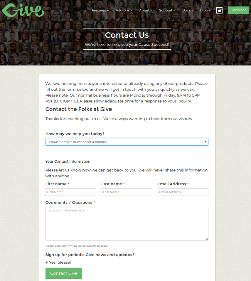 Give — Contact Form