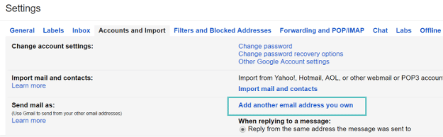 screenshot of Accounts and Import tab in Gmail