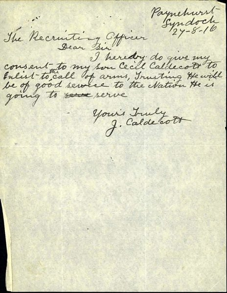 Cecil leonard Caldicott father's permission to enlist