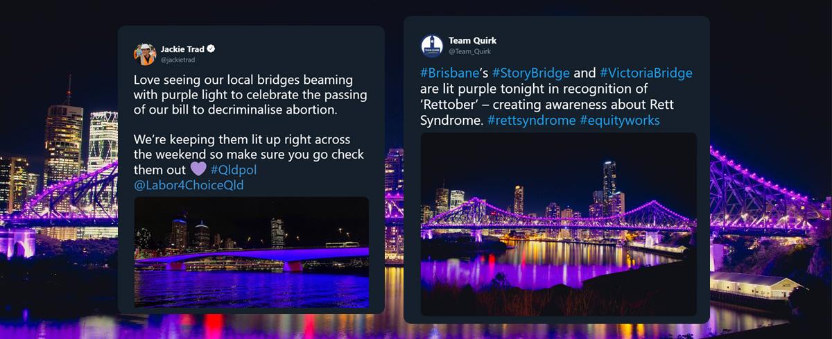 Bridges turn purple to raise awareness of Rett Syndrome, Jackie Trad hijacks the cause: they're purple to celebrate abortion.