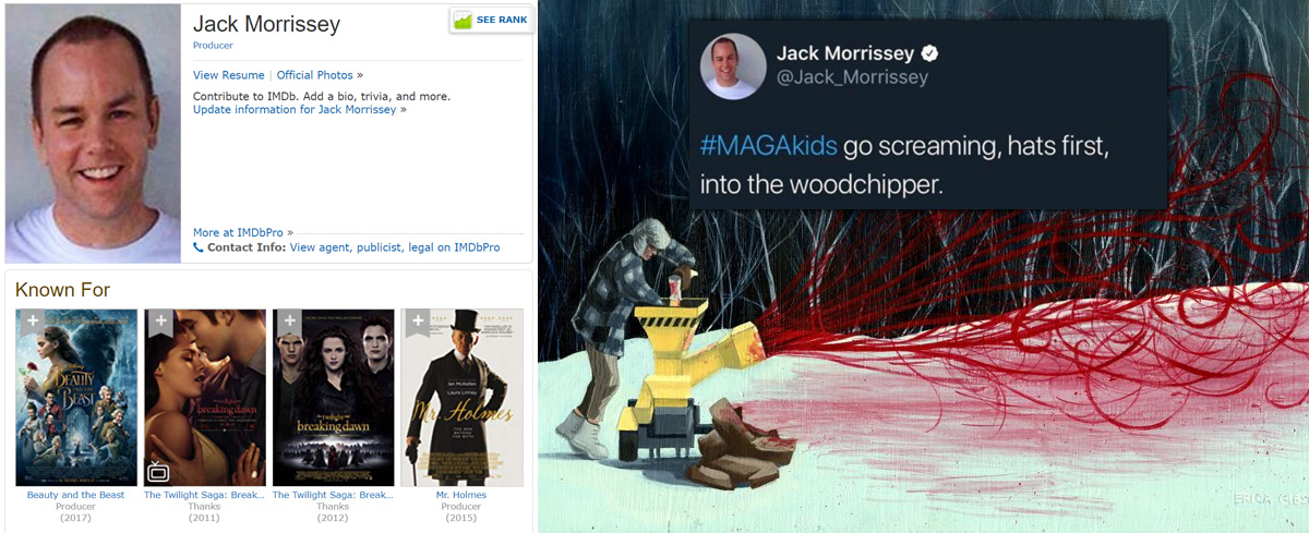 "Disney producer tweets about murdering children wearing MAGA hats: They ""go screaming, hats first, into the woodchipper."""