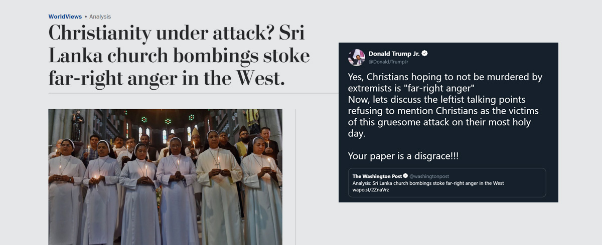 Trump Jr slams The Washington Post for downplaying Christian persecution and suggesting Muslims have it worse just one day after 290 Christians were slaughter by Islamic terrorists.