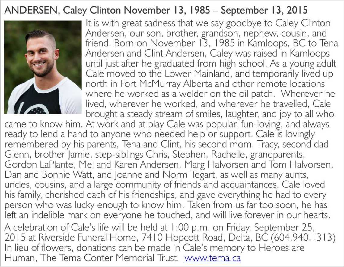 Cale Andersen obiturary