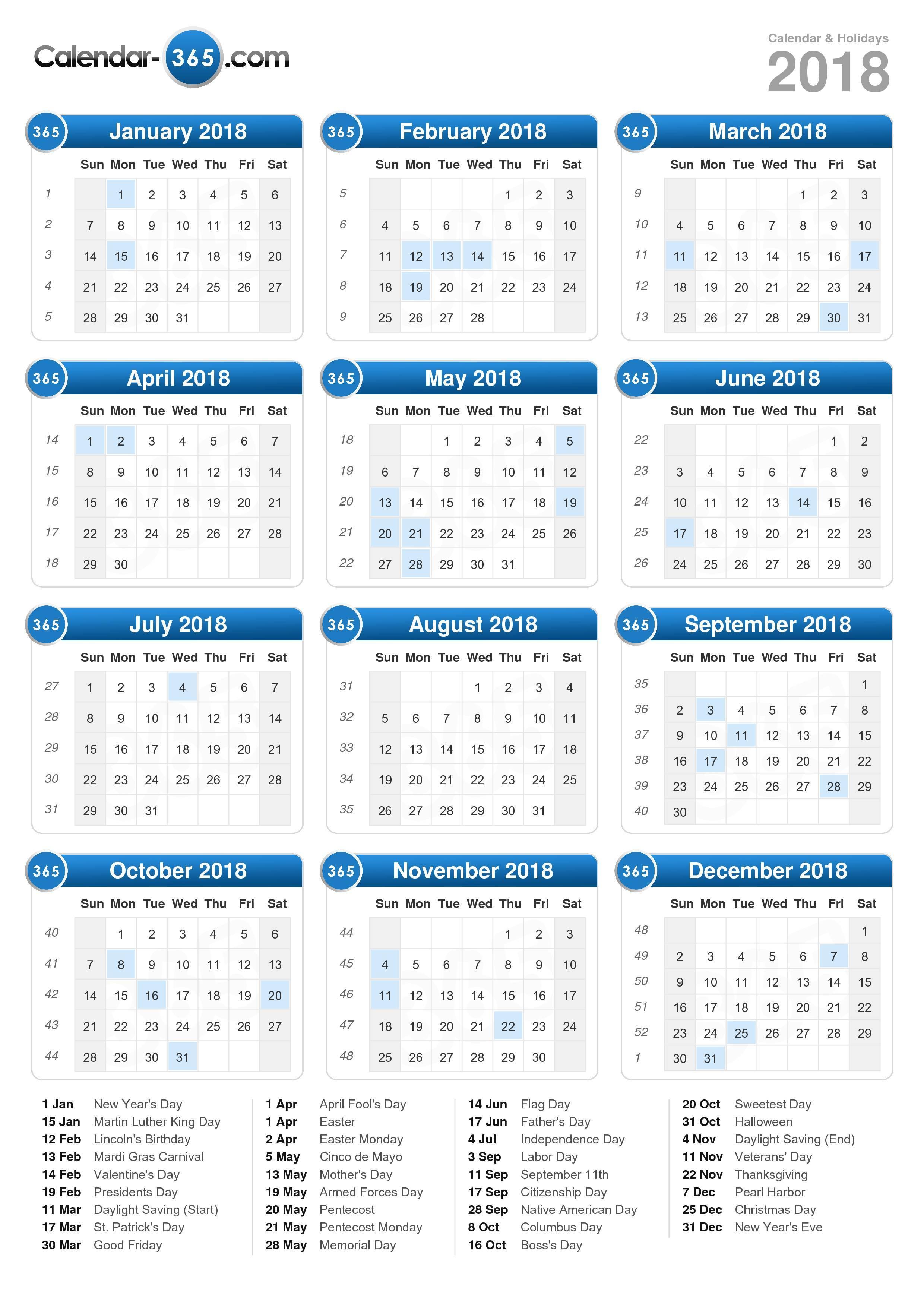 Kalender 2018 Pdf : kalender, Calendar
