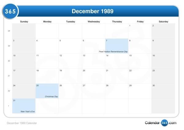 December 1989 Calendar
