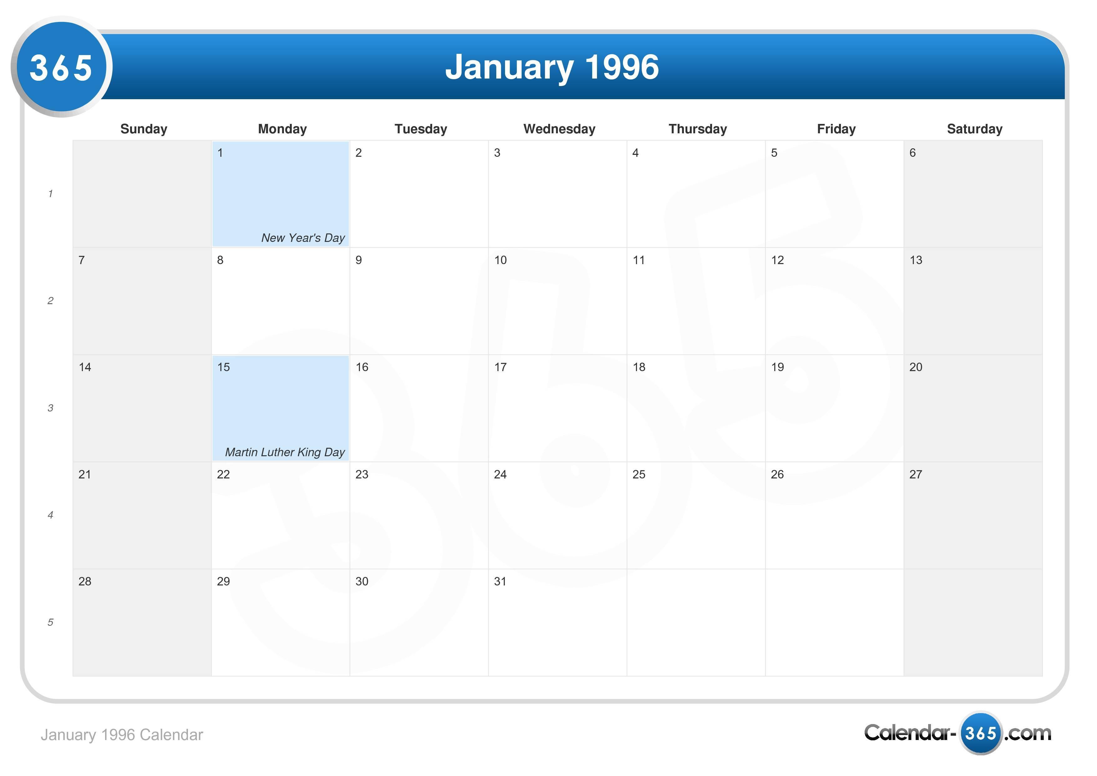 January 1996 Calendar