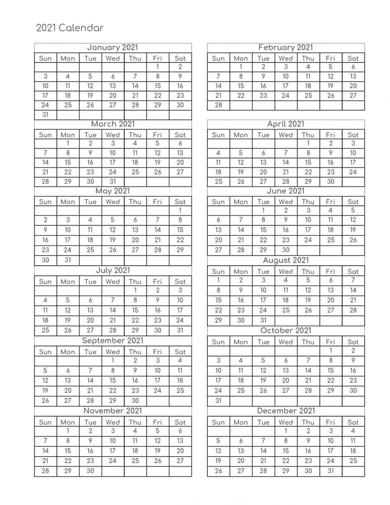 The free 2021 monthly blank calendar template features the space for notes, and it can be used as a menu planner or kitchen calendar. Free Yearly 2021 Calendar Printable Templates - Calendar Edu