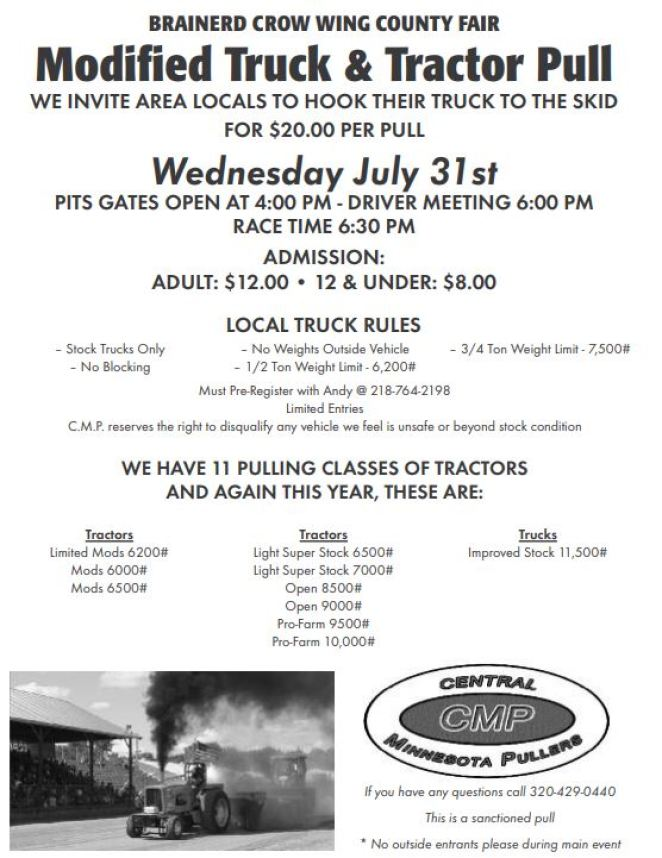 Crow Wing County Fair - Modified Truck & Tractor Pull