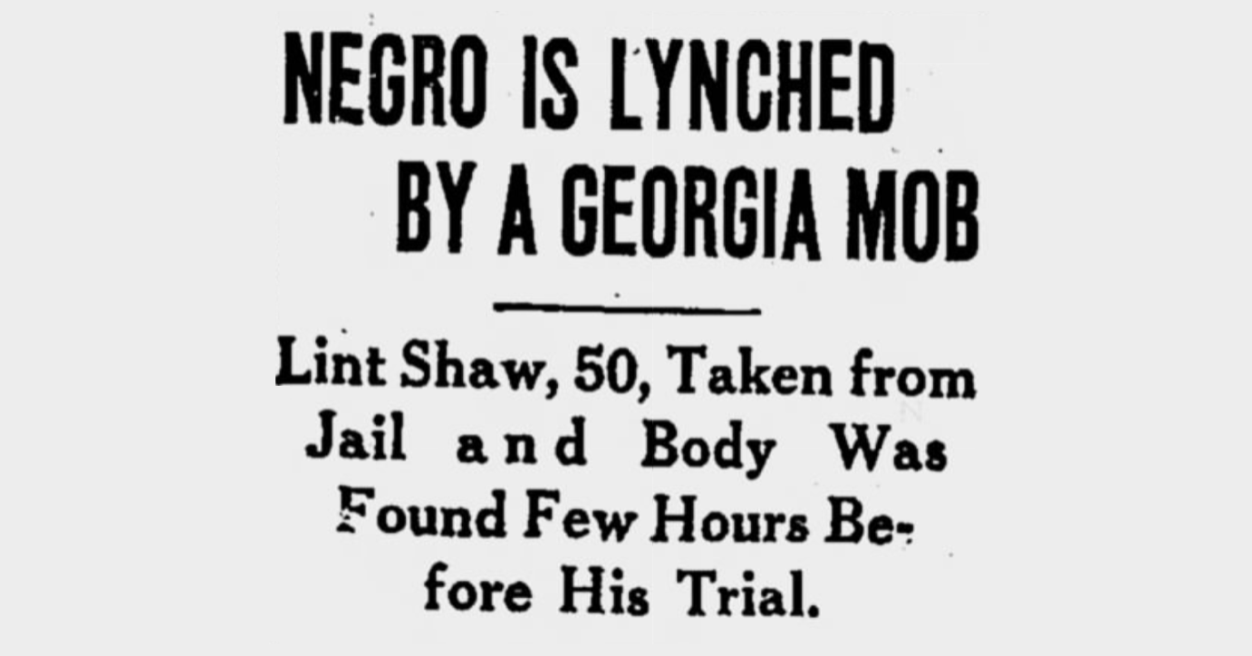 On Apr 28, 1936: Lint Shaw Lynched in Georgia Eight Hours