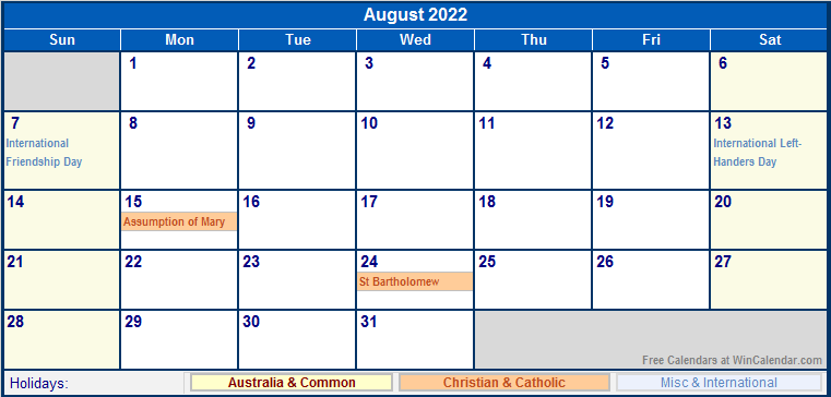 August 2022 Australia Calendar with Holidays for printing ...