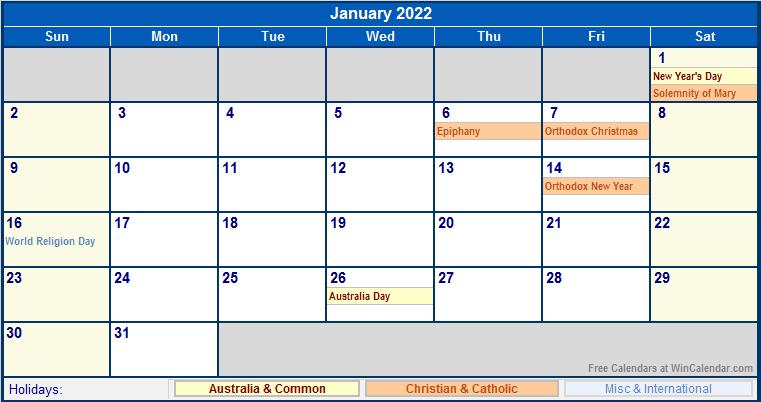 January 2022 Australia Calendar with Holidays for printing ...