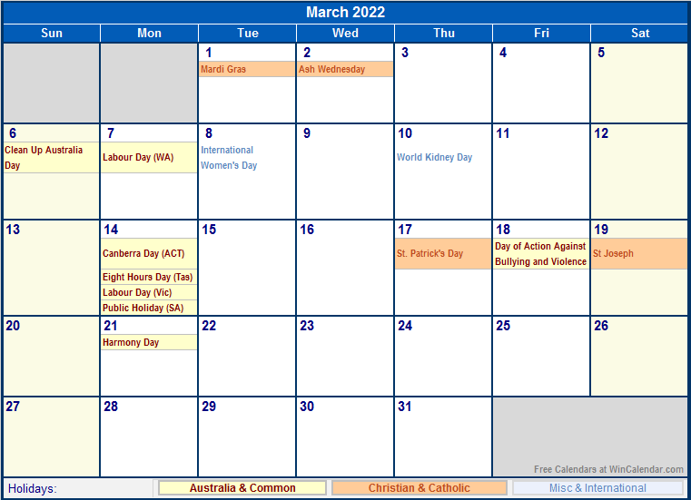 March 2022 Australia Calendar with Holidays for printing ...
