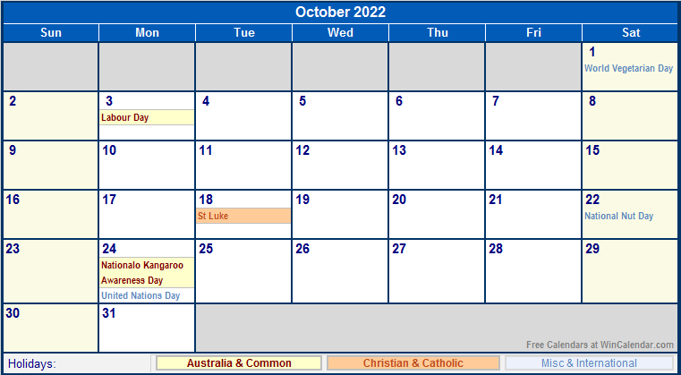 October 2022 Australia Calendar with Holidays for printing ...