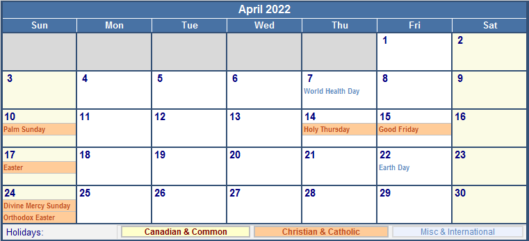 April 2022 Canada Calendar with Holidays for printing ...