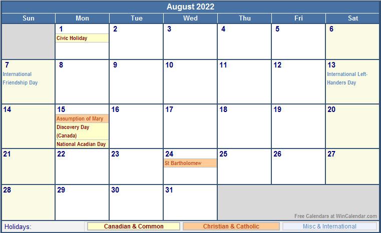 August 2022 Canada Calendar with Holidays for printing ...