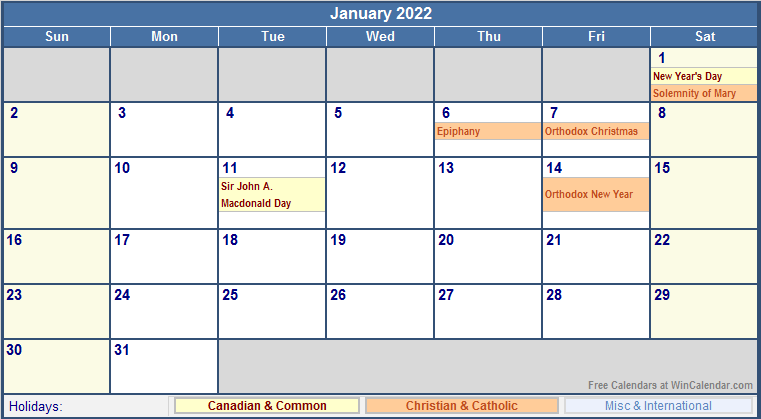 January 2022 Canada Calendar with Holidays for printing ...