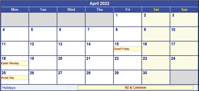 April 2022 New Zealand Calendar with Holidays for printing ...