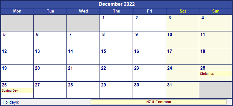 December 2022 New Zealand Calendar with Holidays for ...