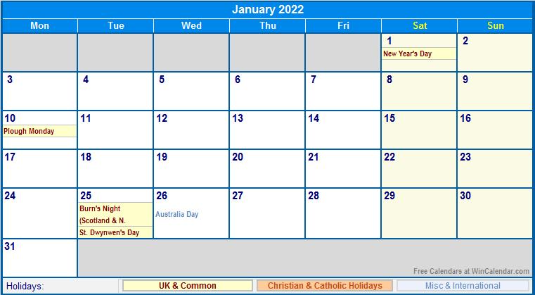 January 2022 UK Calendar with Holidays for printing (image ...