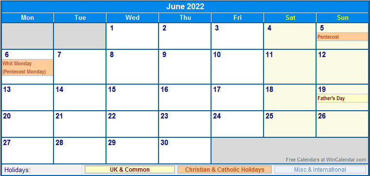 June 2022 UK Calendar with Holidays for printing (image ...