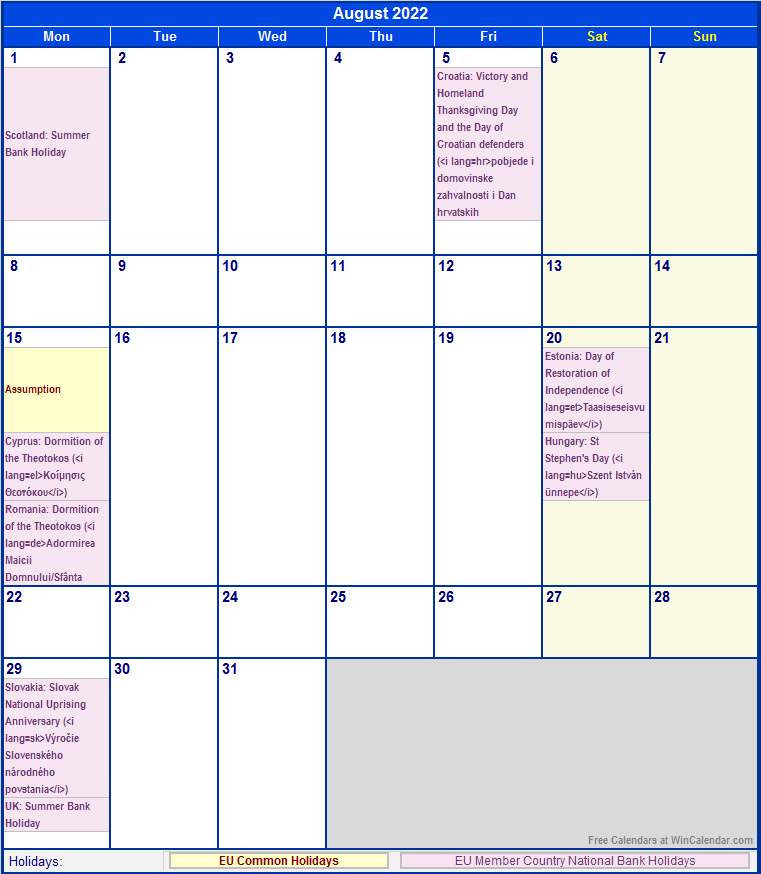 August 2022 EU Calendar with Holidays for printing (image ...