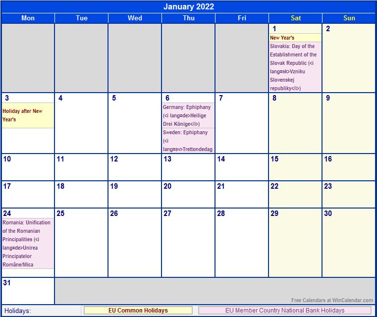 January 2022 EU Calendar with Holidays for printing (image ...