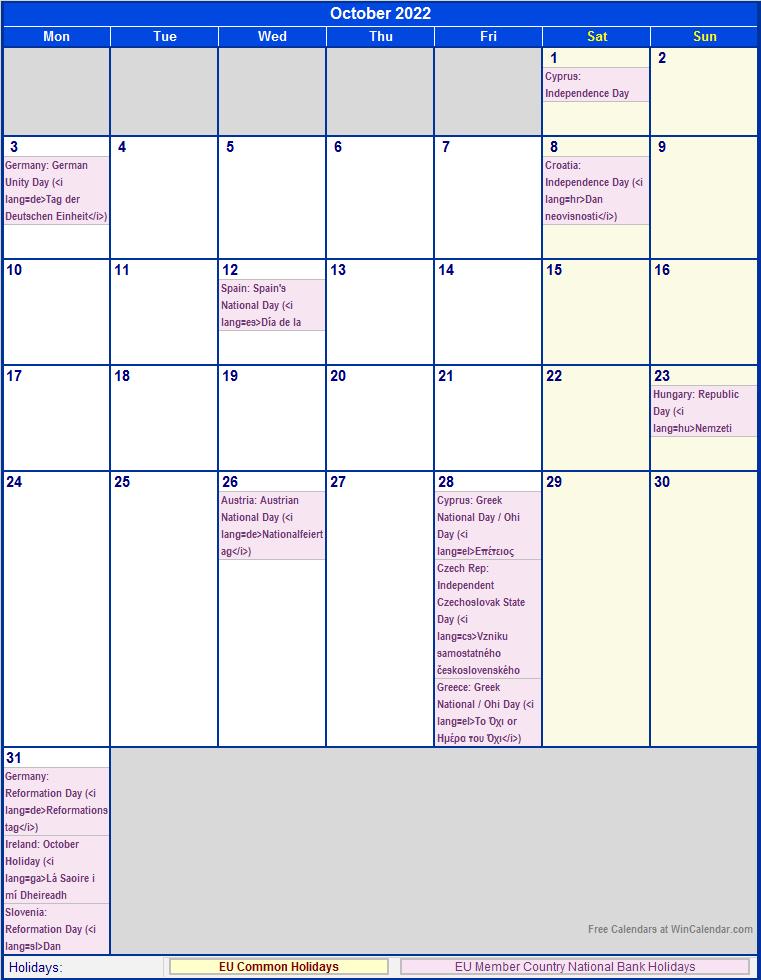 October 2022 EU Calendar with Holidays for printing (image ...