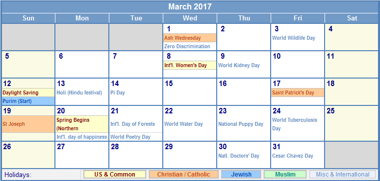 Image result for March 2017 Holiday Calendar